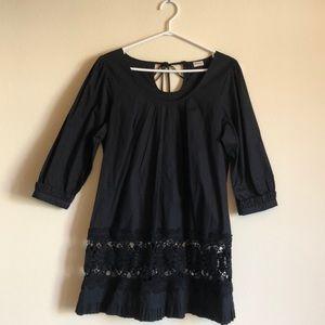 Euphorium   Black Crochet Ruffle Trim Cotton Dress